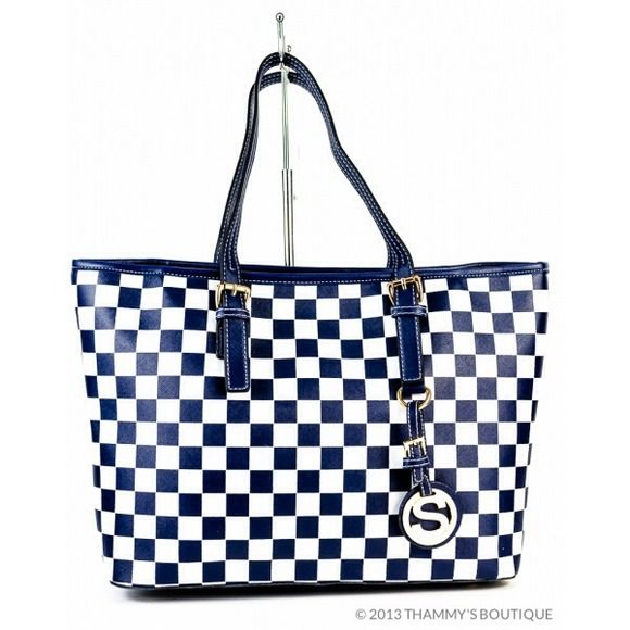 """Selling this """"Hot NEW Blue/White Checkboard Tote! """" in my Poshmark closet! My username is: moblues. #shopmycloset #poshmark #fashion #shopping #style #forsale #Thammy's Boutique  #Handbags"""