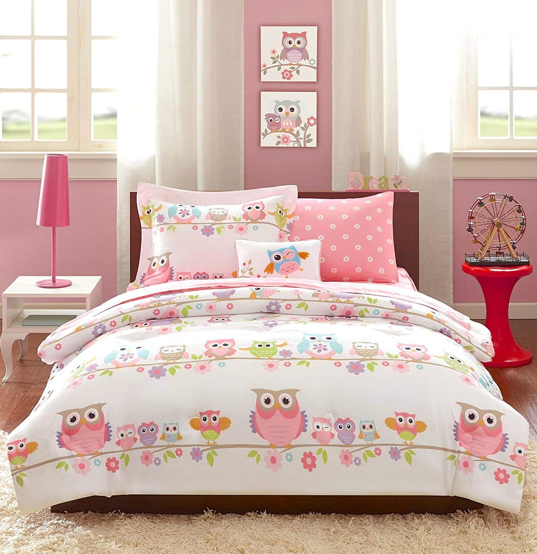 Girls Owl Bedding Queen Pink White Blue Green Purple Orange