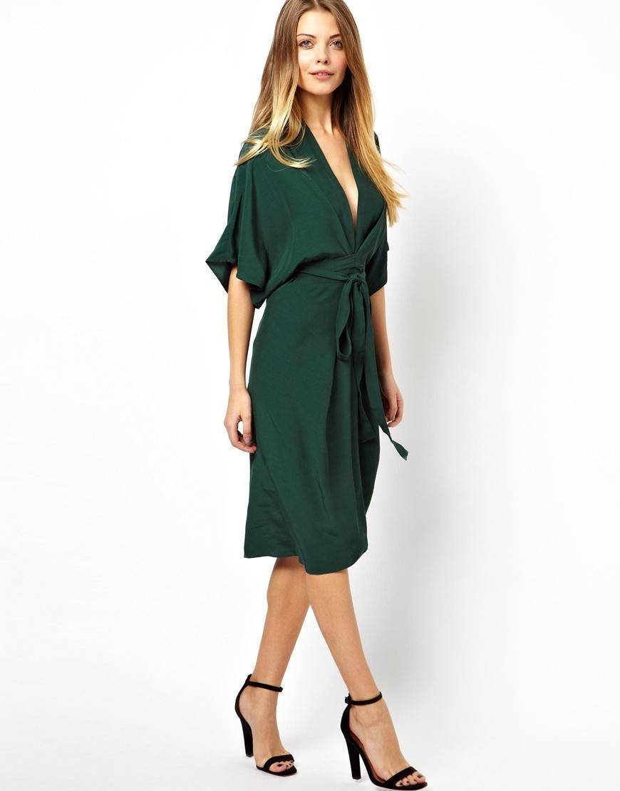 Asos Asos Midi Dress With Kimono Sleeves At Asos Moda