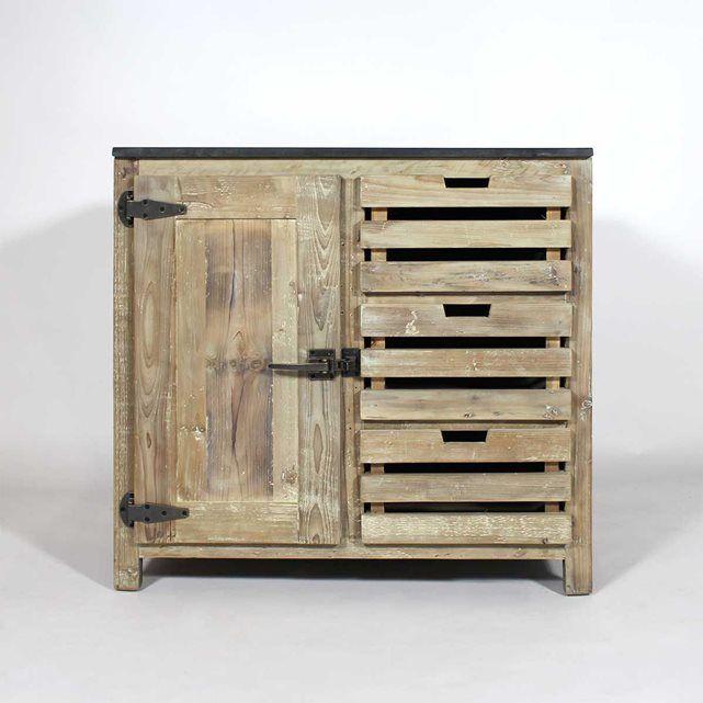 Ce meuble cuisine bois recycl poign es style frigo comprend diff rents types de rangements avec - Meuble cuisine en metal ...