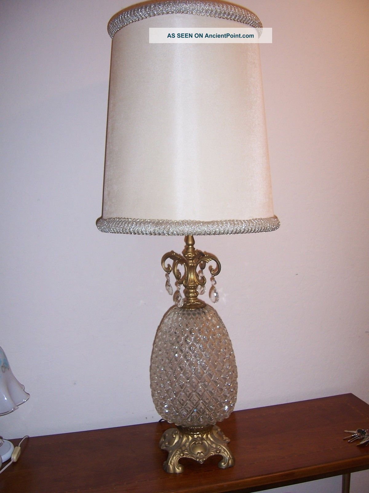 Vintage Glass Pineapple Table Lamp Hollywood Art Deco Swag ...