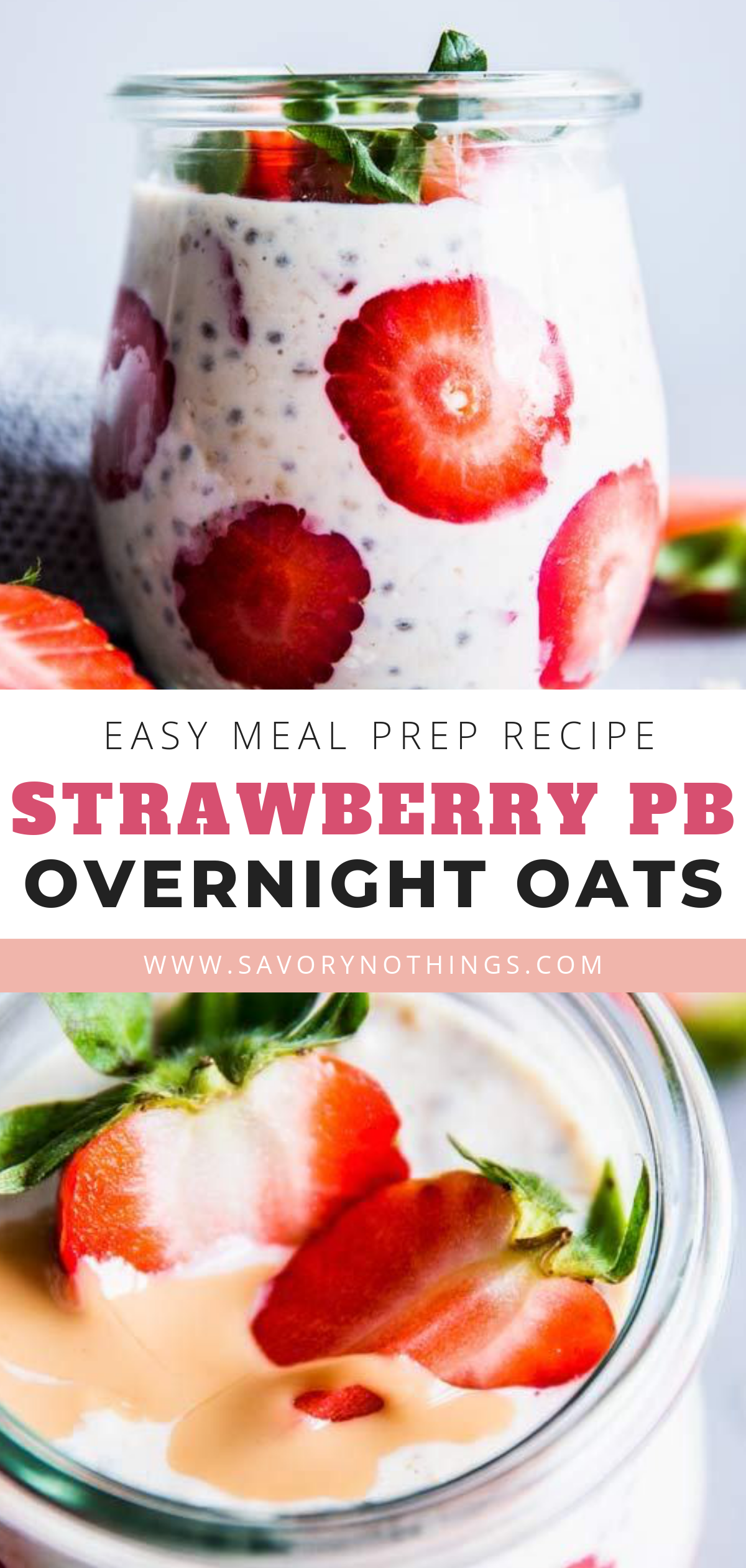 Strawberry Peanut Butter Overnight Oats are an easy and delicious make ahead breakfast the whole family will love. Perfect for easy meal prep when you have a busy morning ahead! You can make them in individual jars to take them on the go, or make a large batch in a single bowl if you're feeding a crowd - so easy! |
