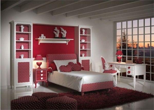 deco chambre ado rouge et blanc