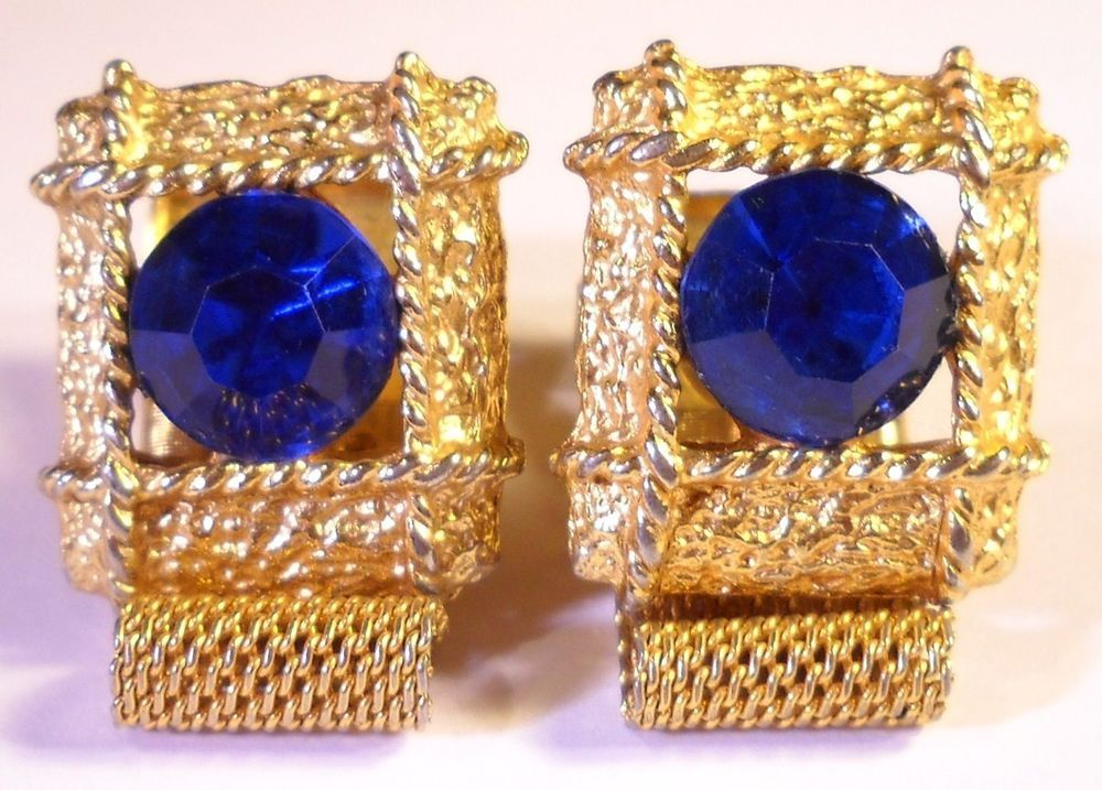 Gold Plated Wrap Around Cufflinks with Blue Faceted Jewel by Wlliam C Greene Co.