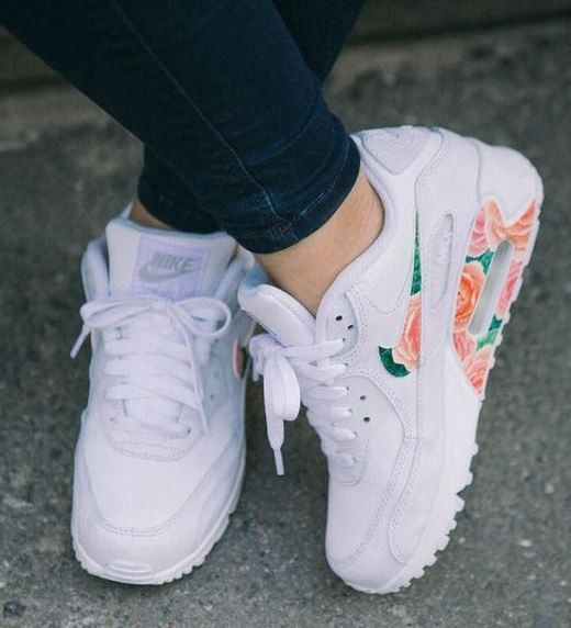 8d26705f25ac75 Custom Bright Flowers Nike Air Max 90 Nike Running