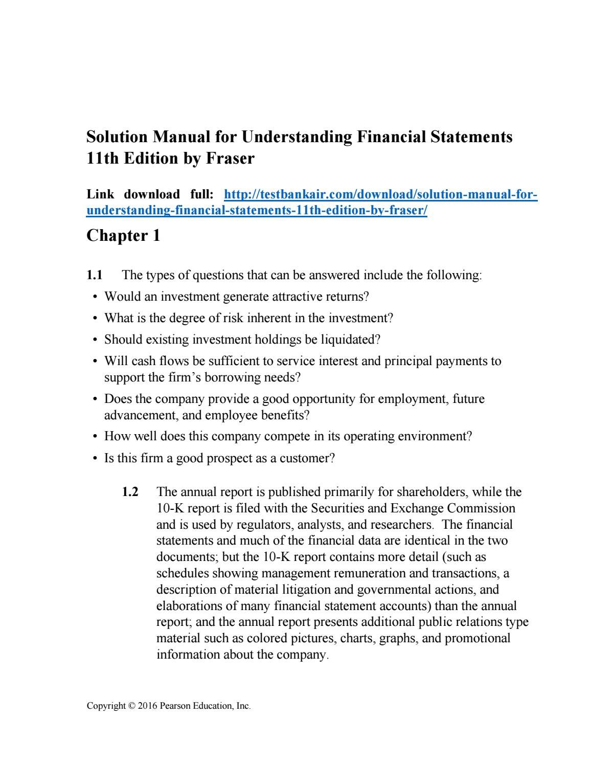 Download solution manual for understanding financial statements 11th  edition by fraser Financial Statement, Manual,