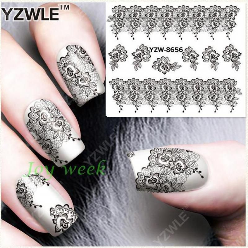 Water Transfer Nails Art Sticker black lace flowers Nail Wraps Sticker Fingernails Decals manicure stickers