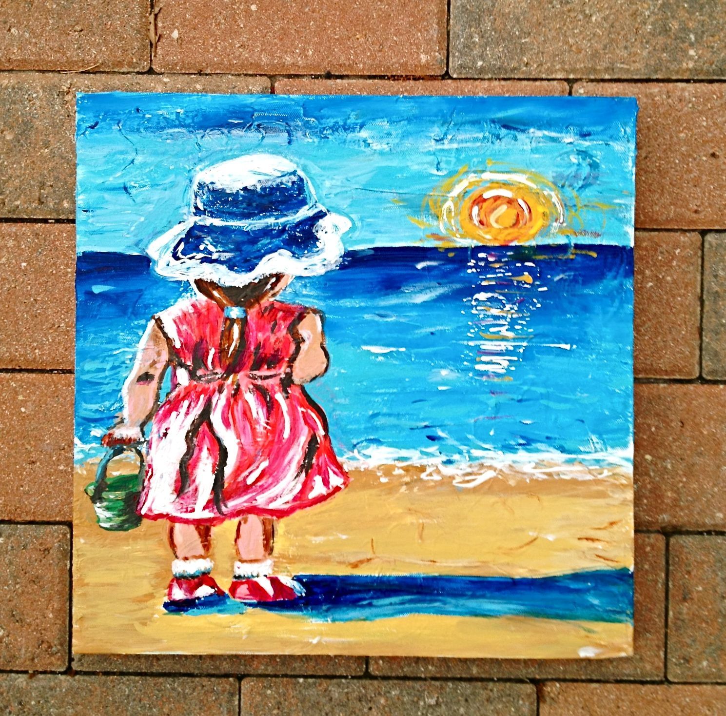 Little Girl at the Beach painting