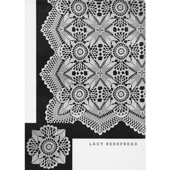 Vintage Crochet PATTERN Daisy Motif Tablecloth Bedsprea