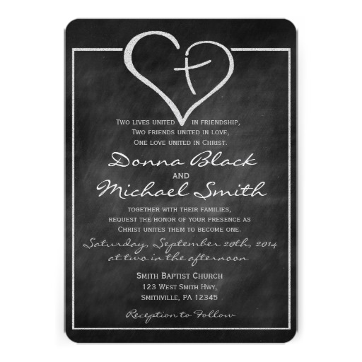 Christian Wording For Wedding Invitations: Crossed Heart Religious Wedding Invitations