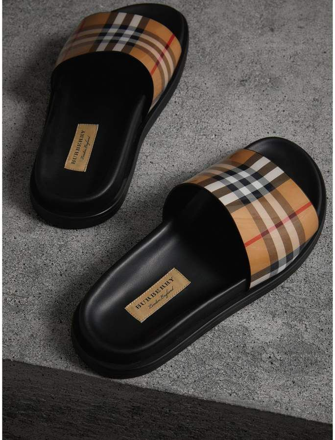 7d8e7b994f9 Burberry Vintage Check and Leather Slides #CommissionLink | SHOES ...