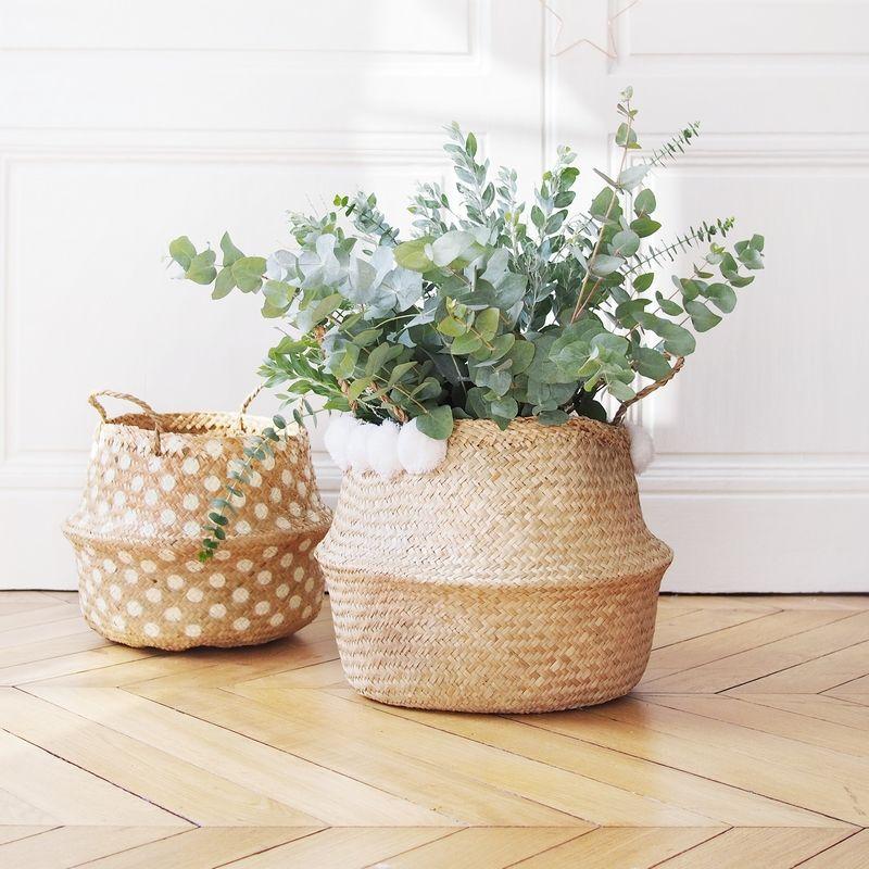 grand panier boule naturel pompons blancs decoraci n decoraci n de canastas cestas de. Black Bedroom Furniture Sets. Home Design Ideas