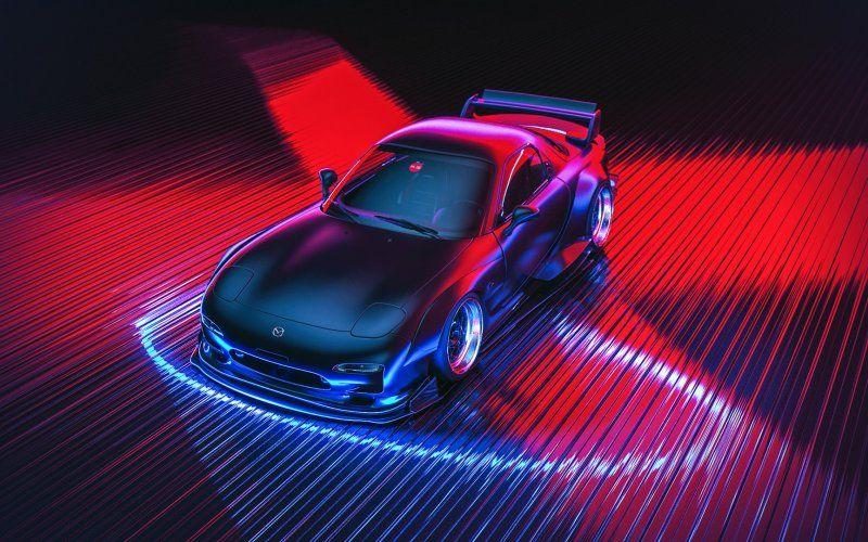 Wallpaper Mazda Neon Lights Digital Artwork Car Neon Car Mazda Rx7 Mazda