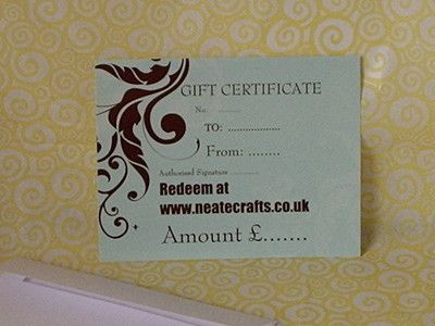 Gift Certificate Neate Crafts Xmas Gift Ideas Handmade Gifts