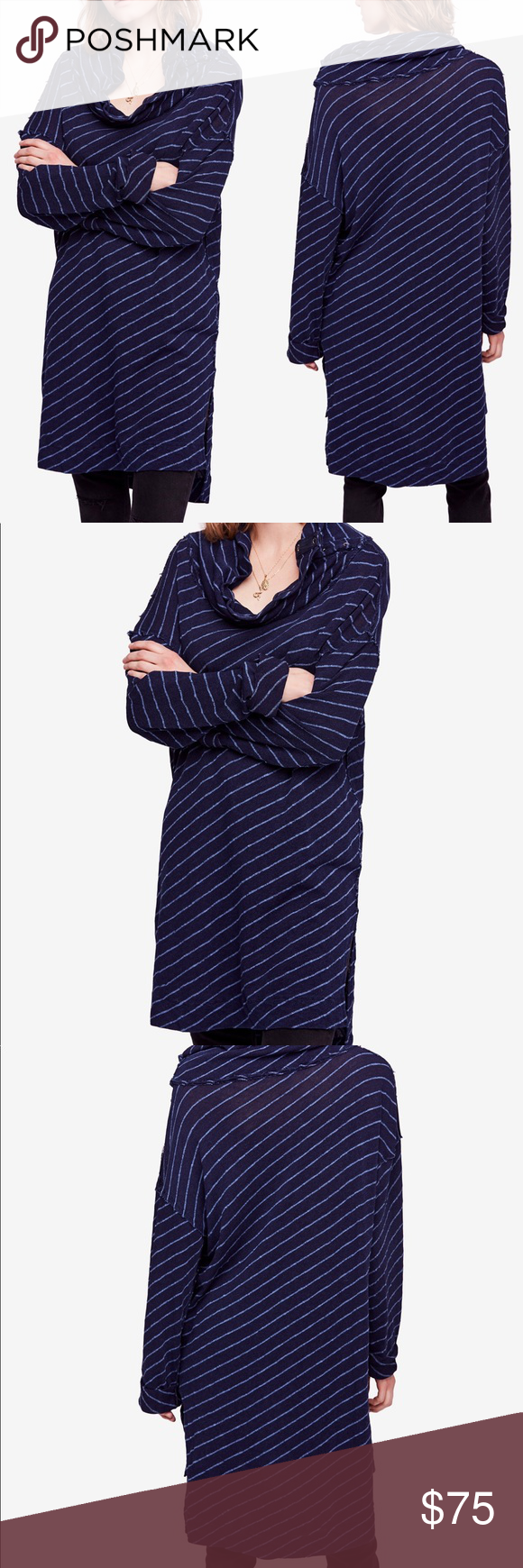 "FREE PEOPLE Gotta Have It Indigo Striped Tunic NWT Brand new with tags  Free People Gotta Have It Tunic Long Tee In Indigo Striped Combo. Long tunic with snap button cowl and high low hem with side vents  Size: M Bust: 54"" Length: 42"" Free People Tops Tunics #gottahaveit FREE PEOPLE Gotta Have It Indigo Striped Tunic NWT Brand new with tags  Free People Gotta Have It Tunic Long Tee In Indigo Striped Combo. Long tunic with snap button cowl and high low hem with side vents  Size: M Bust: 54"" #gottahaveit"