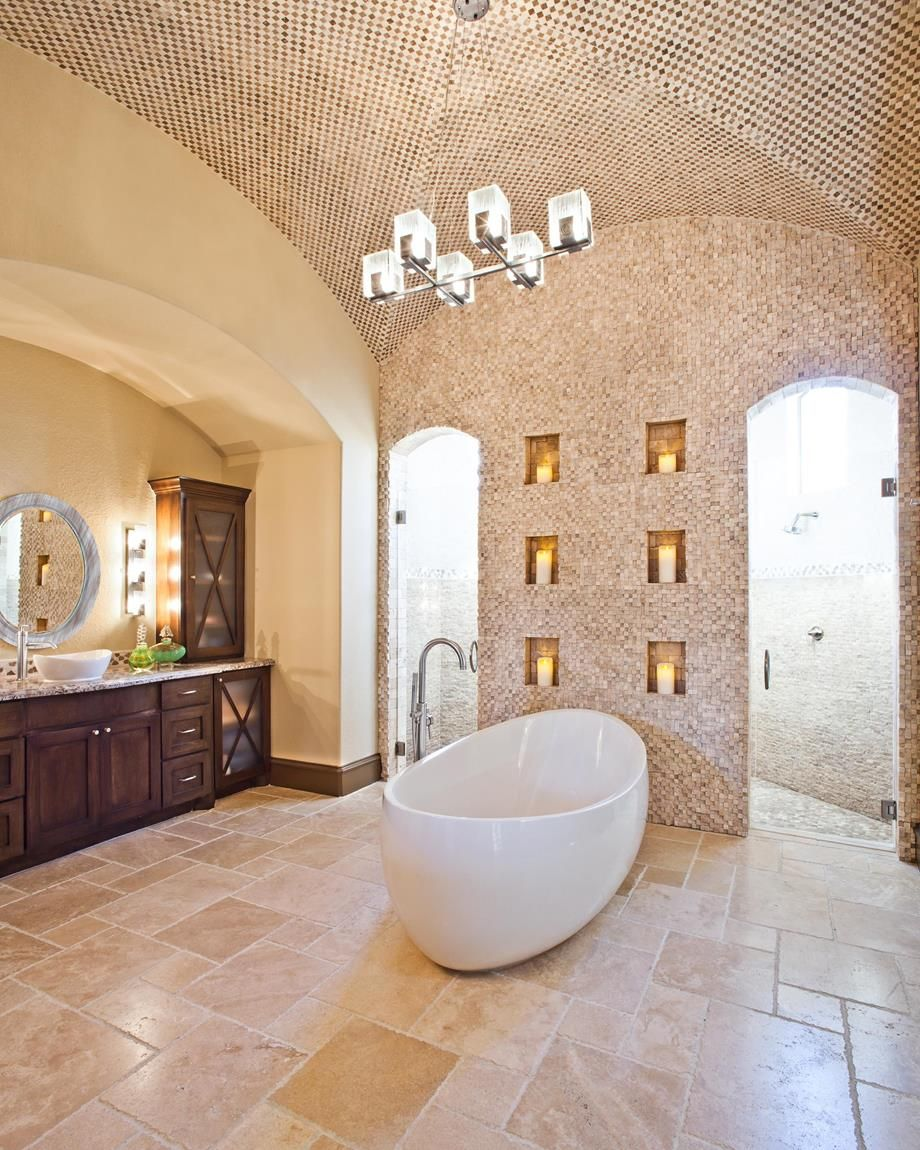 Attractive Travertine Versailles Pattern For Interior And Exterior Decor:  Mosaic Tile And Vaulted Ceilings With Chandelier Plus Bathroom Vanity  Cabinets And ...