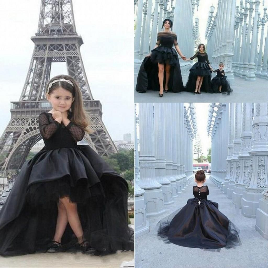 2016 High Low Girl Pageant Dresses Cupcake Princess Ball Gown Black Taffeta Long Sleeves Fashion Kids Formal Wear Prom Gowns Little Girl Pageant Gowns Little Girls Pageant Dresses Wholesale From Angelia0223, $126.71  Dhgate.Com