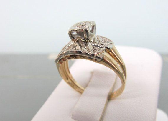 Charming Vintage Wedding Ring Set Mid Century Engagement Ring 10k