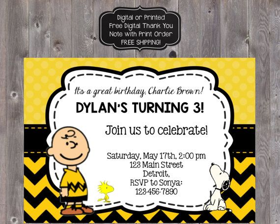 Charlie Brown Birthday Invitation By Partyoninvites