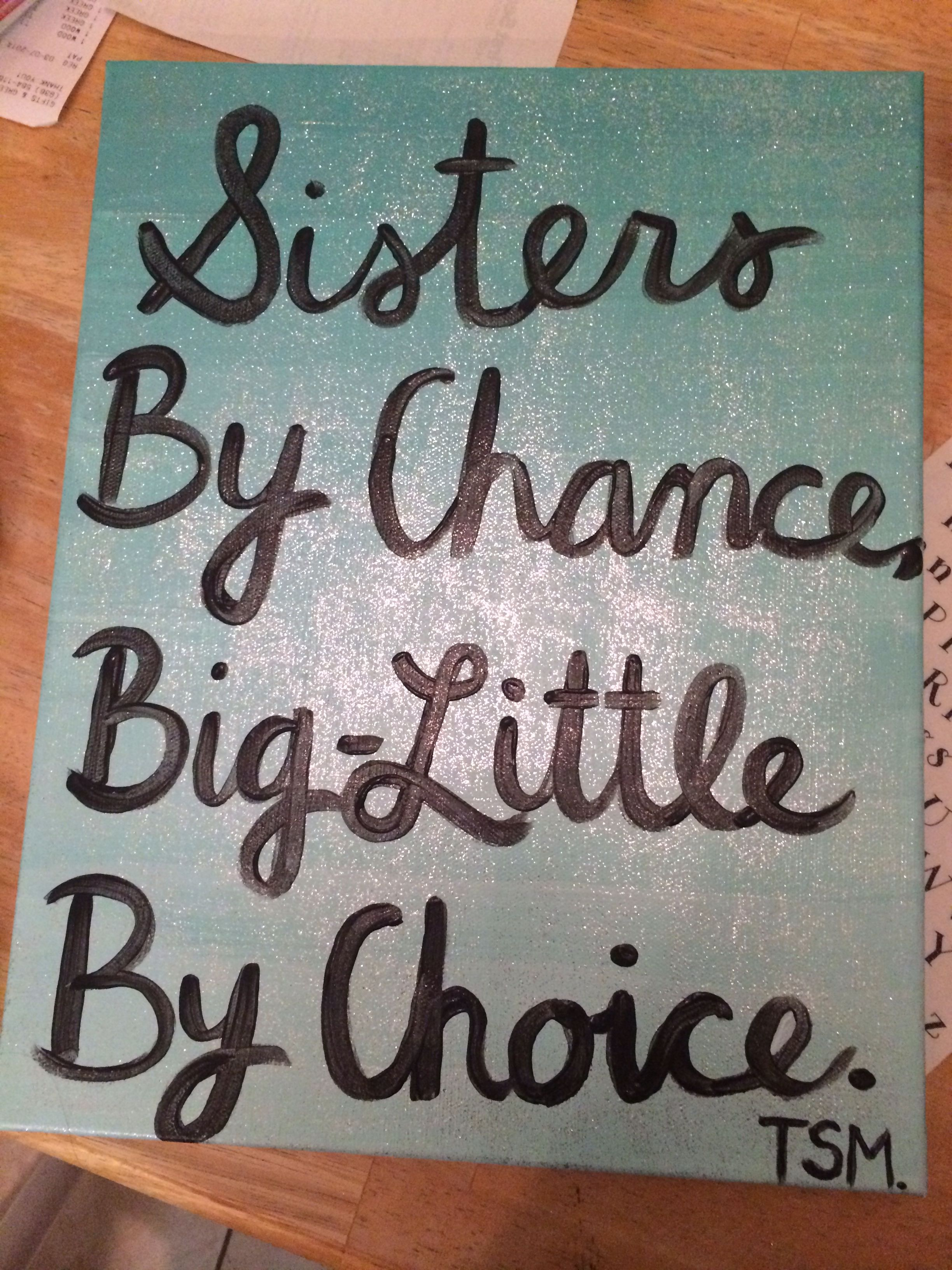 Ombré and sparkly big-little quote canvas #sorority #crafts ...