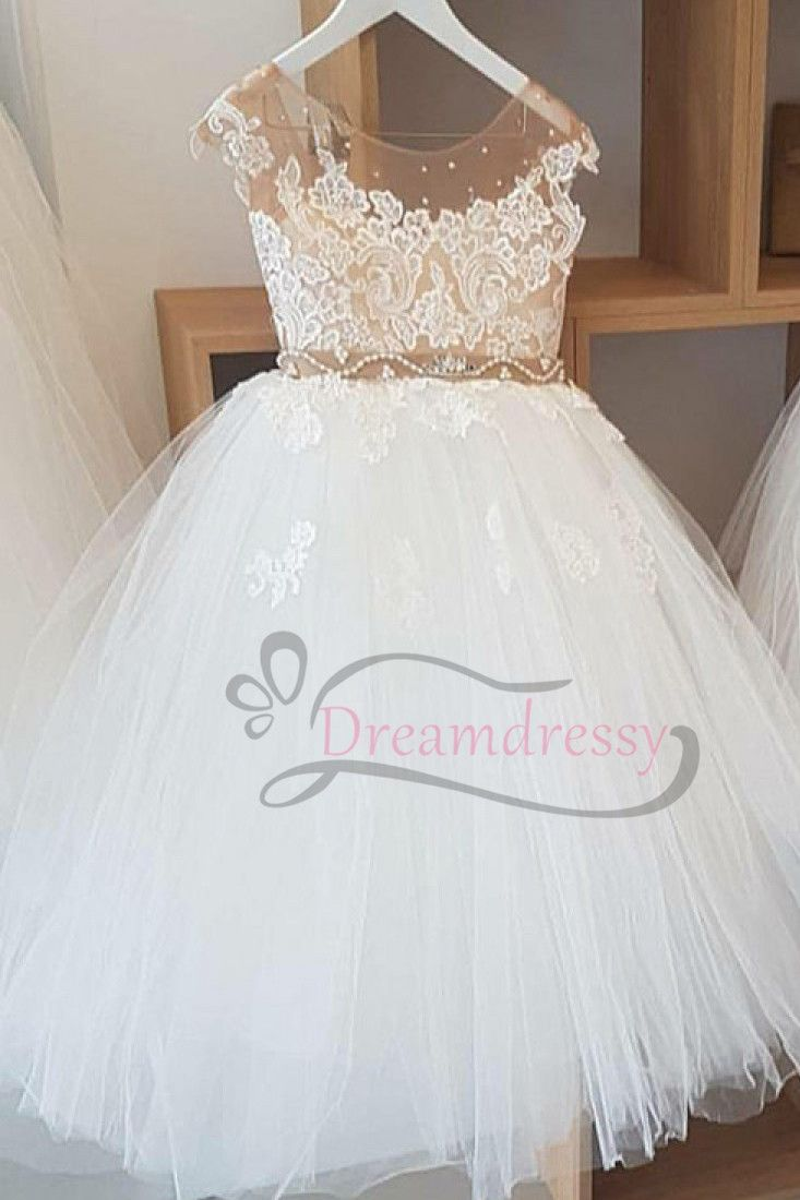 Luxurious aline white long flower girl dress with appliques new
