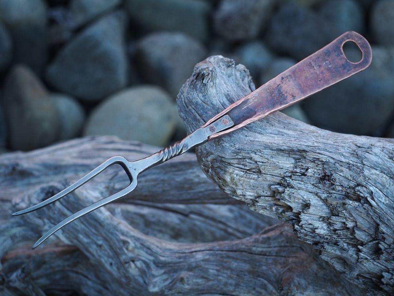 Custom steel and copper fork crossed heart