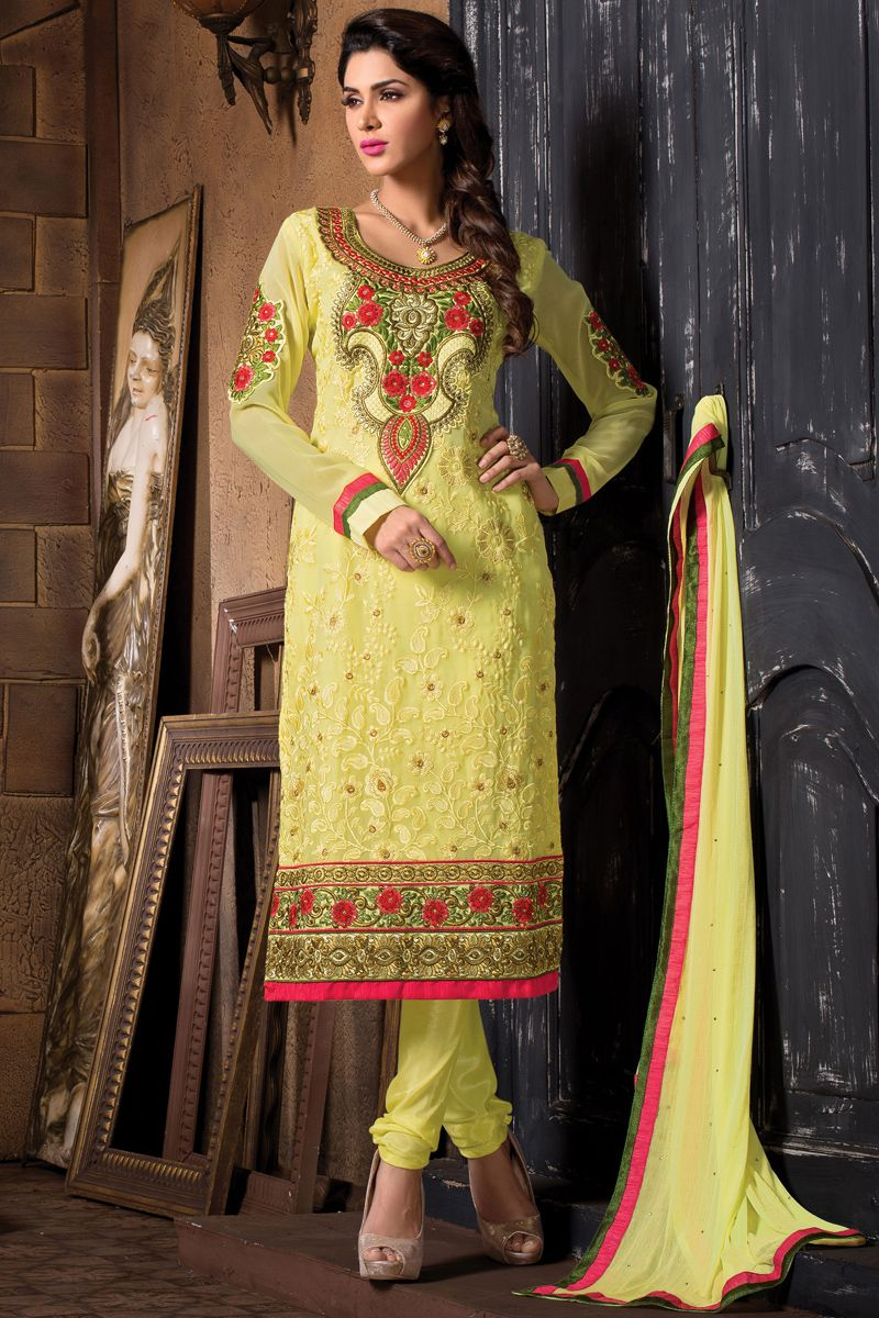 Yellow designer party wear indian salwar suit from skysarees