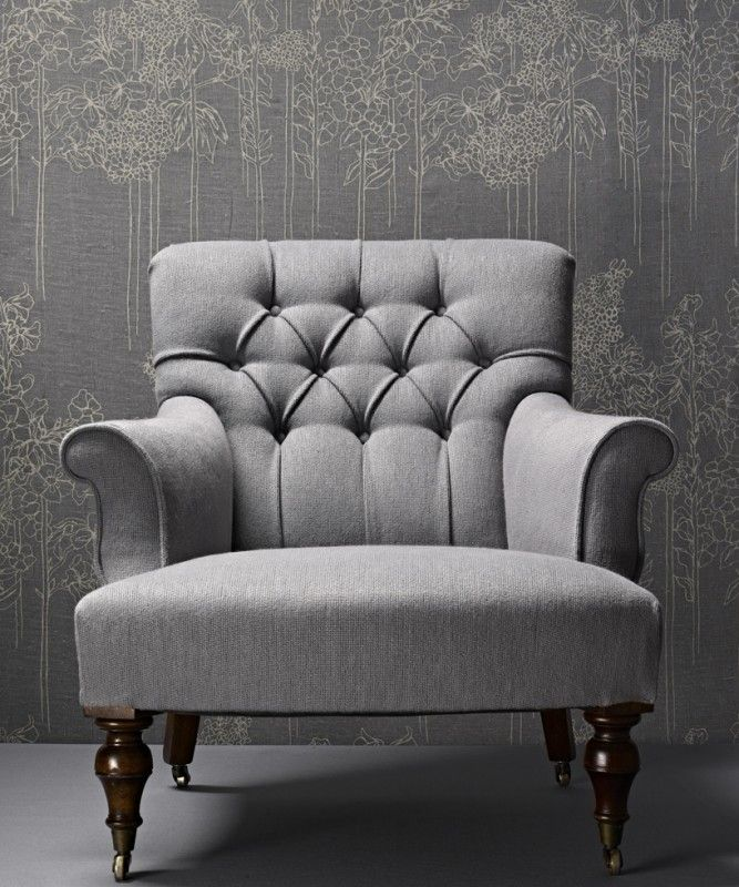 arm chair diamond buttoned backrest with rolled arms