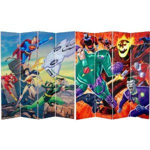 Oriental Furniture 6-Feet Tall Double Sided Justice League Canvas Room Divider