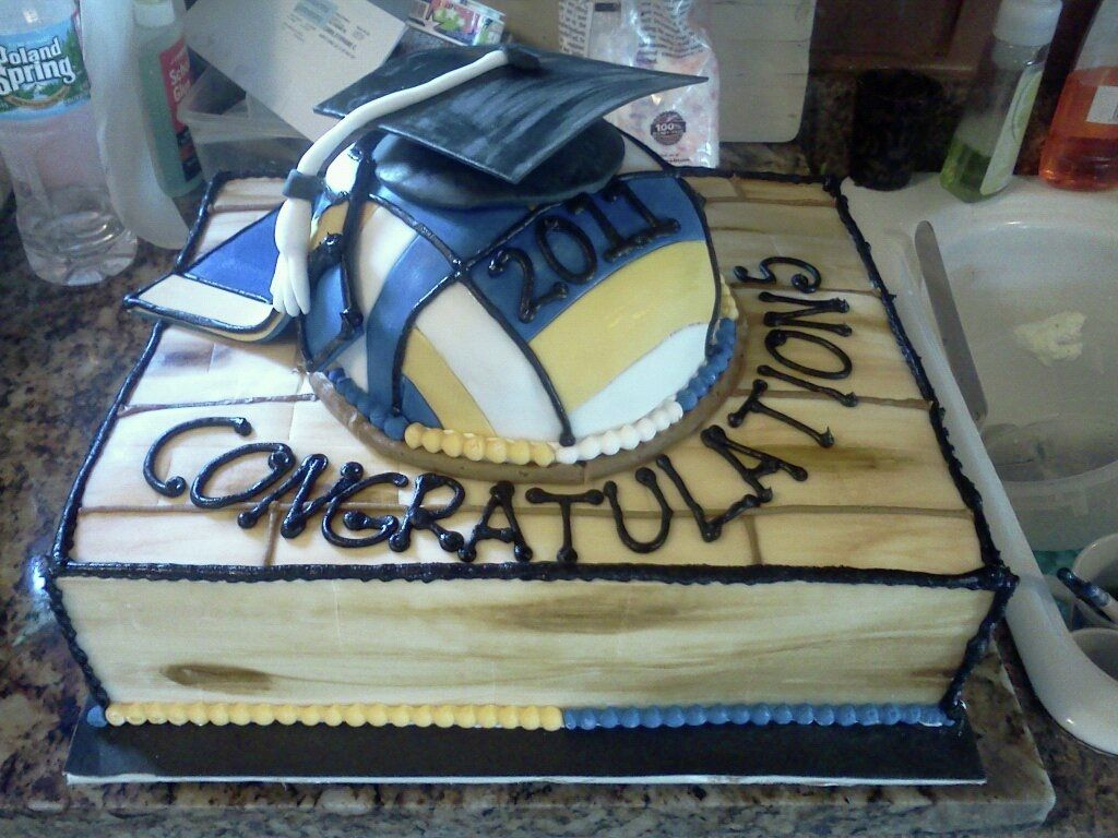 Pin By Stephanie Curro On My Cakes Volleyball Birthday Cakes Volleyball Cakes Graduation Cap Cake