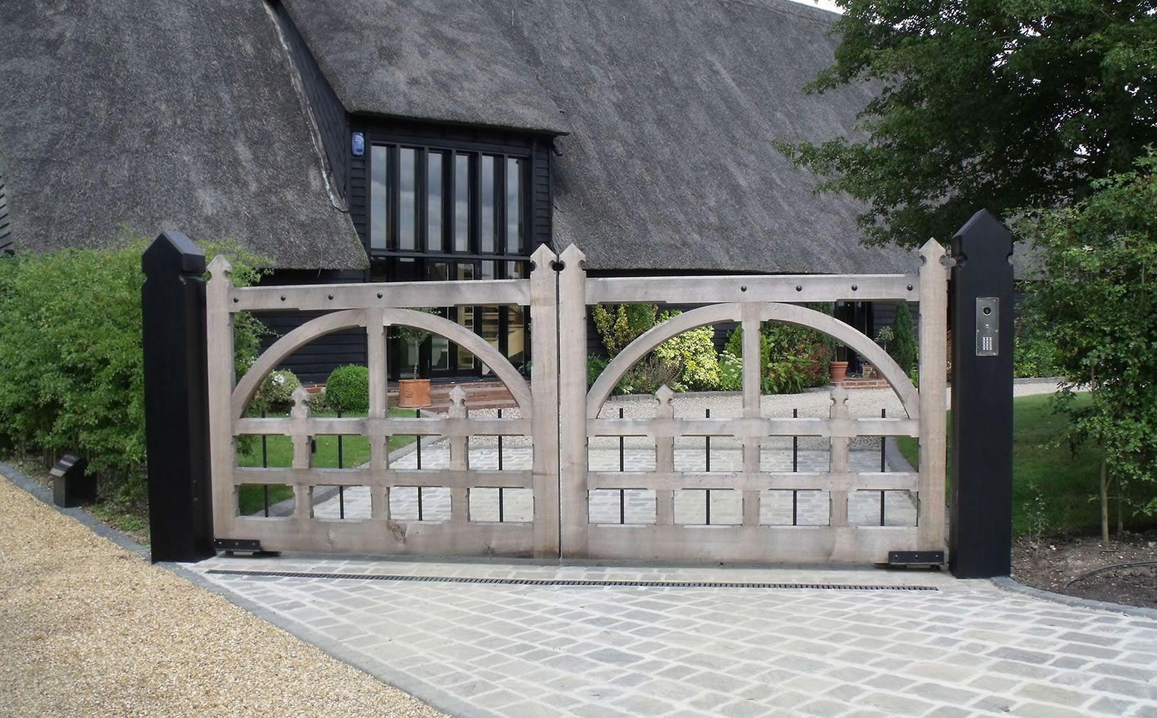 The Vicarage Wooden Electric Gates Wooden Garden Gate Electric Gates