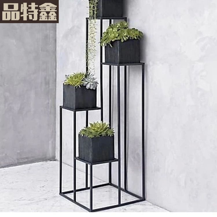 American Indoor Balcony Succulents Iron Flower Stand Simple Floor Tall Flower Pot Rack Multifunction Diy Blumenstander Topfblumen Pflanzen