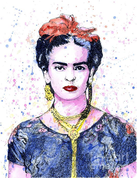 'Frida' Sharpie pen and watercolor.