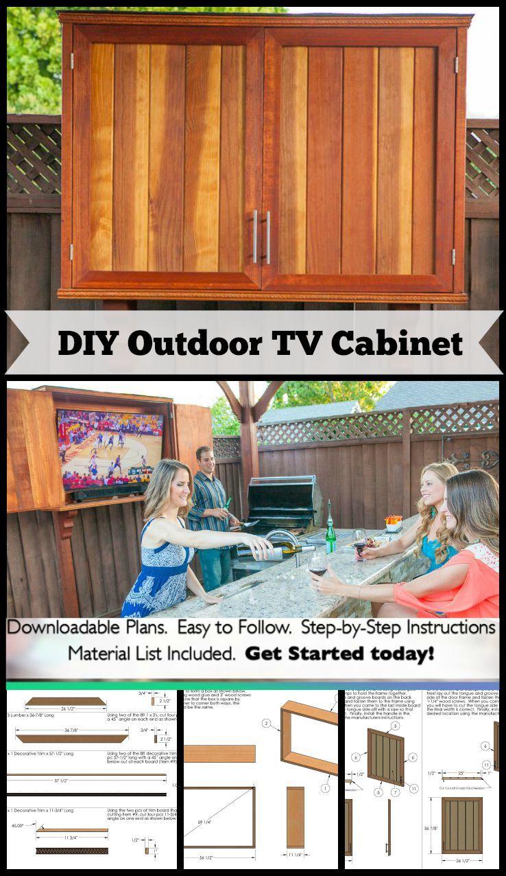 Outdoor TV Cabinet with Double Doors Downloadable Building Plan
