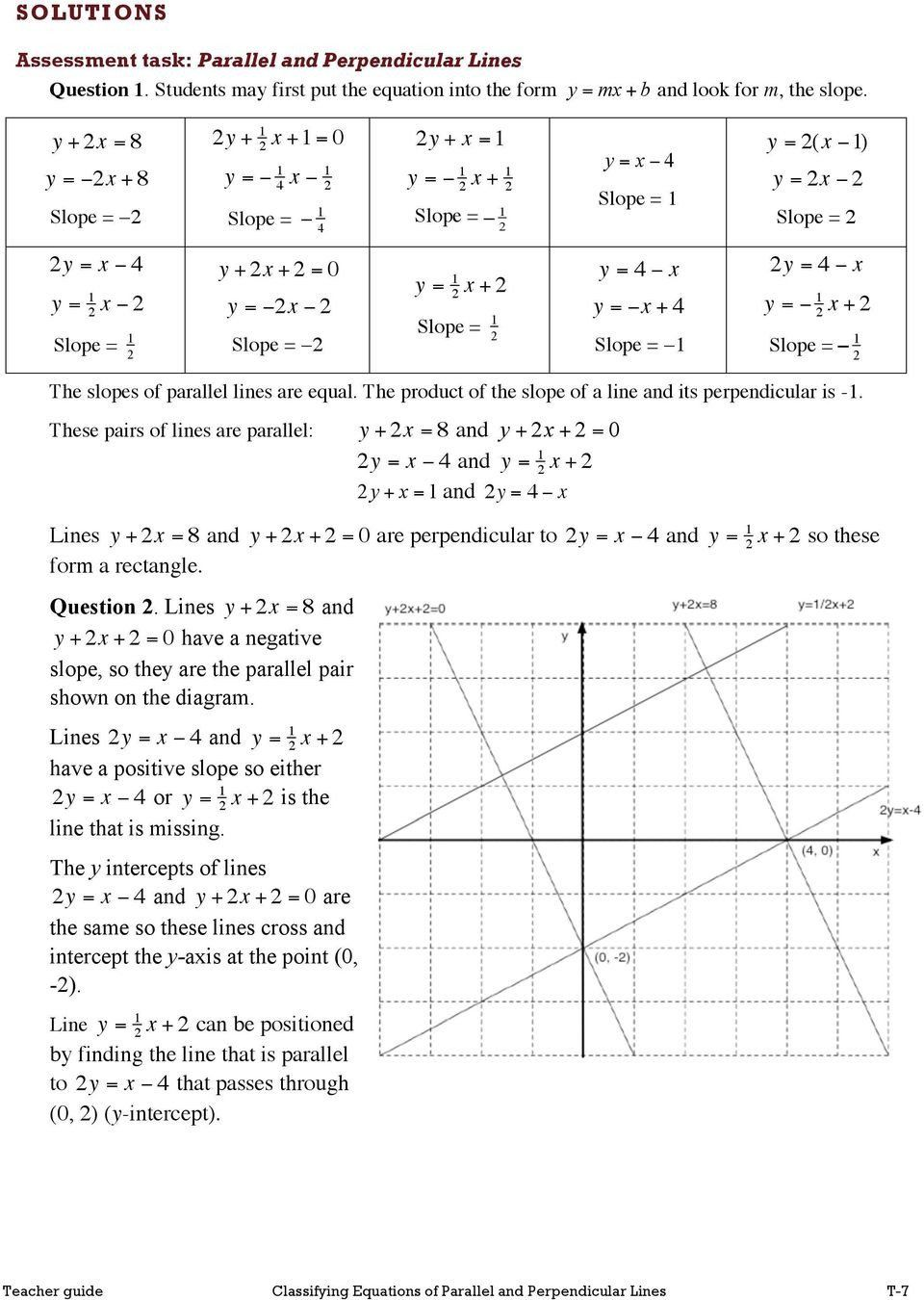 Parallel and Perpendicular Lines Worksheet Finding