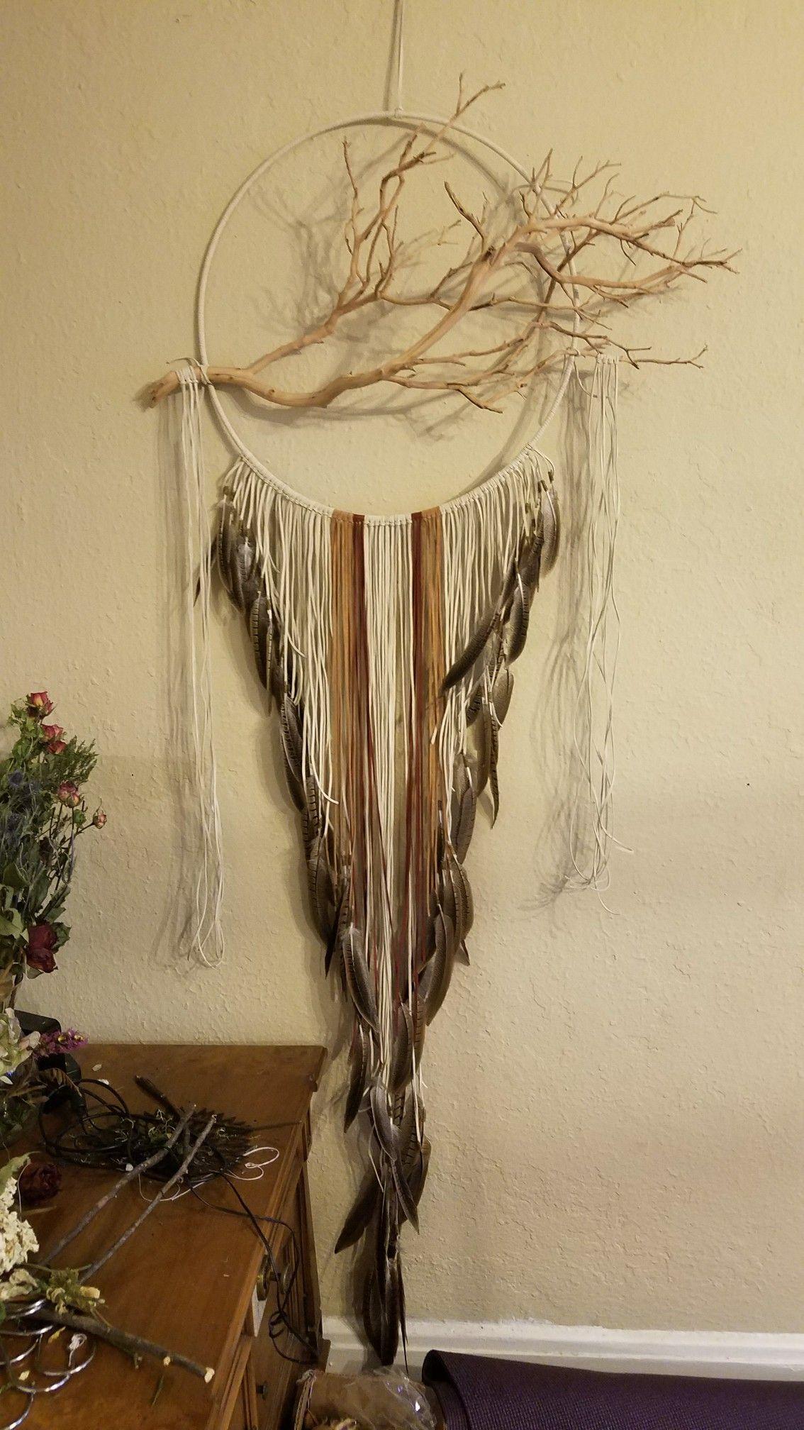 Manzanita branch leather dream catcher tan brown crystal quartz air ...