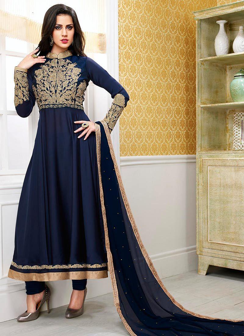 Latest Blue Embroidery And Zari Work Satin Designer Anarkali Suit