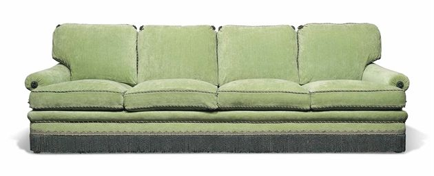 A GREEN BRUSHED COTTON FOUR-SEAT SOFA  SUPPLIED BY FEDERICO FORQUET
