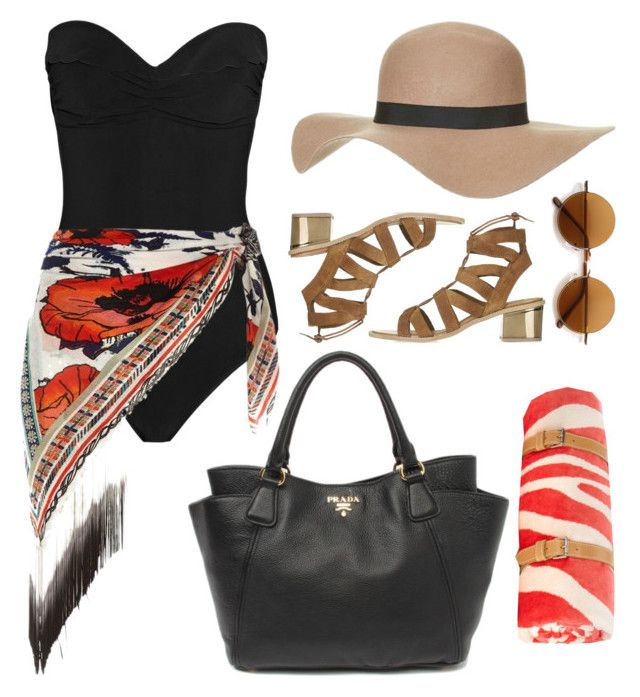 """Beach Fashion"" by gorgeous-mermaid ❤ liked on Polyvore featuring Heidi Klein, River Island, Maslin & Co., Retrò, Prada and Topshop"