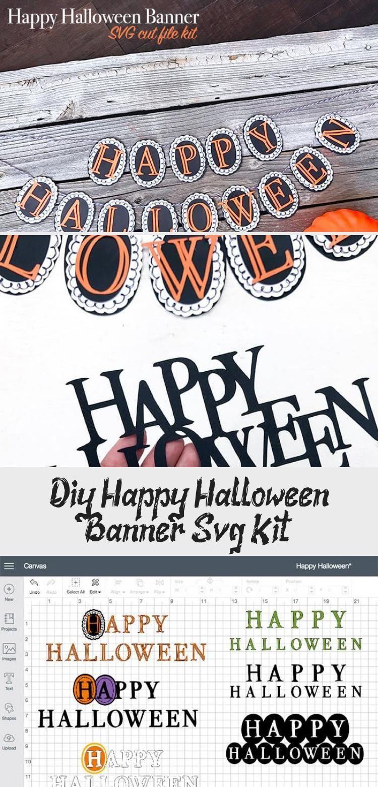 DIY Happy Halloween Banner SVG Kit - 100 Directions #Wallbanner #bannerFacebook #bannerYoutube #bannerLetters #bannerBts #happyhalloweenschriftzug