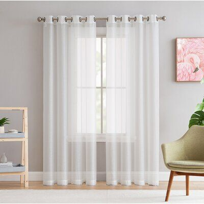 Mercury Row Highlawn Solid Sheer Grommet Curtain Panels Size Per