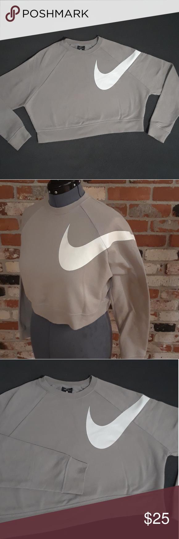 Nike Womens Gray Crop Top Crewneck Sweatshirt Beautiful Dust Gray Nike Dri Fit Crop Top Crew Neck Sweatshirt With Crew Neck Sweatshirt Grey Crop Top Crop Tops [ 1740 x 580 Pixel ]