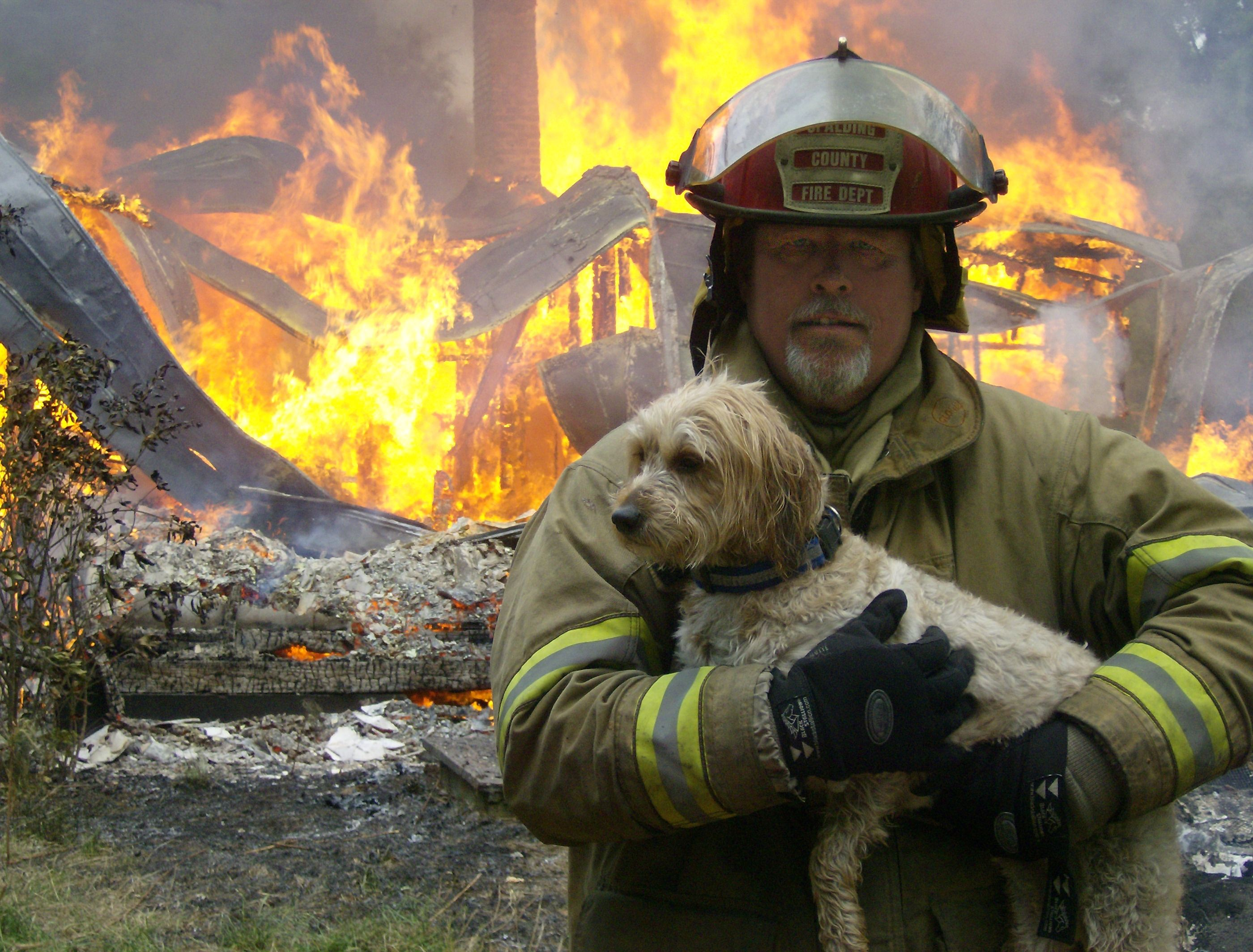 Firefighter Lt. Keith Tate holding Mr. Boo at a metro