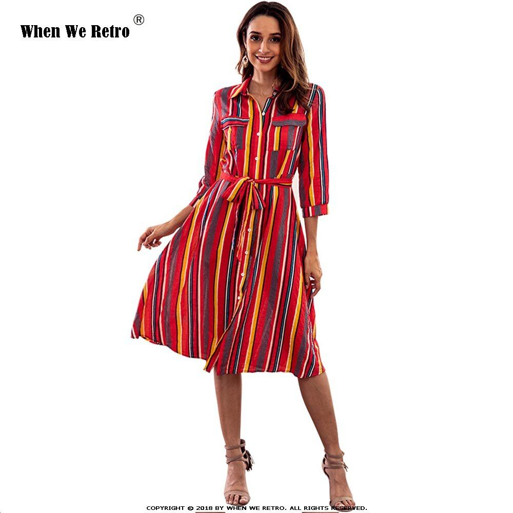 Photo of Rainbow Striped Dress 3/4 Sleeve Elegant Casual A Line Dress C3040 2019 Spring P…
