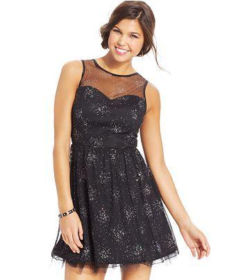c8db90460d811 Emerald Sundae Juniors' Beaded Illusion Dress - Juniors Dresses - Macy's