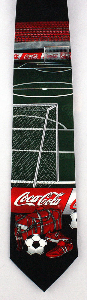 New Coca Cola Soccer Mens Necktie Coke Logo Soda World Cup Football Neck Tie #CocaCola #NeckTie
