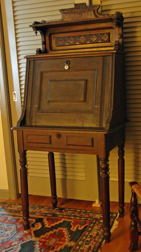 Antique Victorian Eastlake Secretary Ladies Desk By Hensnest10 250 00 Victorian Furniture