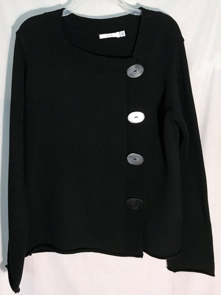 Details about WISH Black 100% Cotton Pullover Sweater - Cute ...