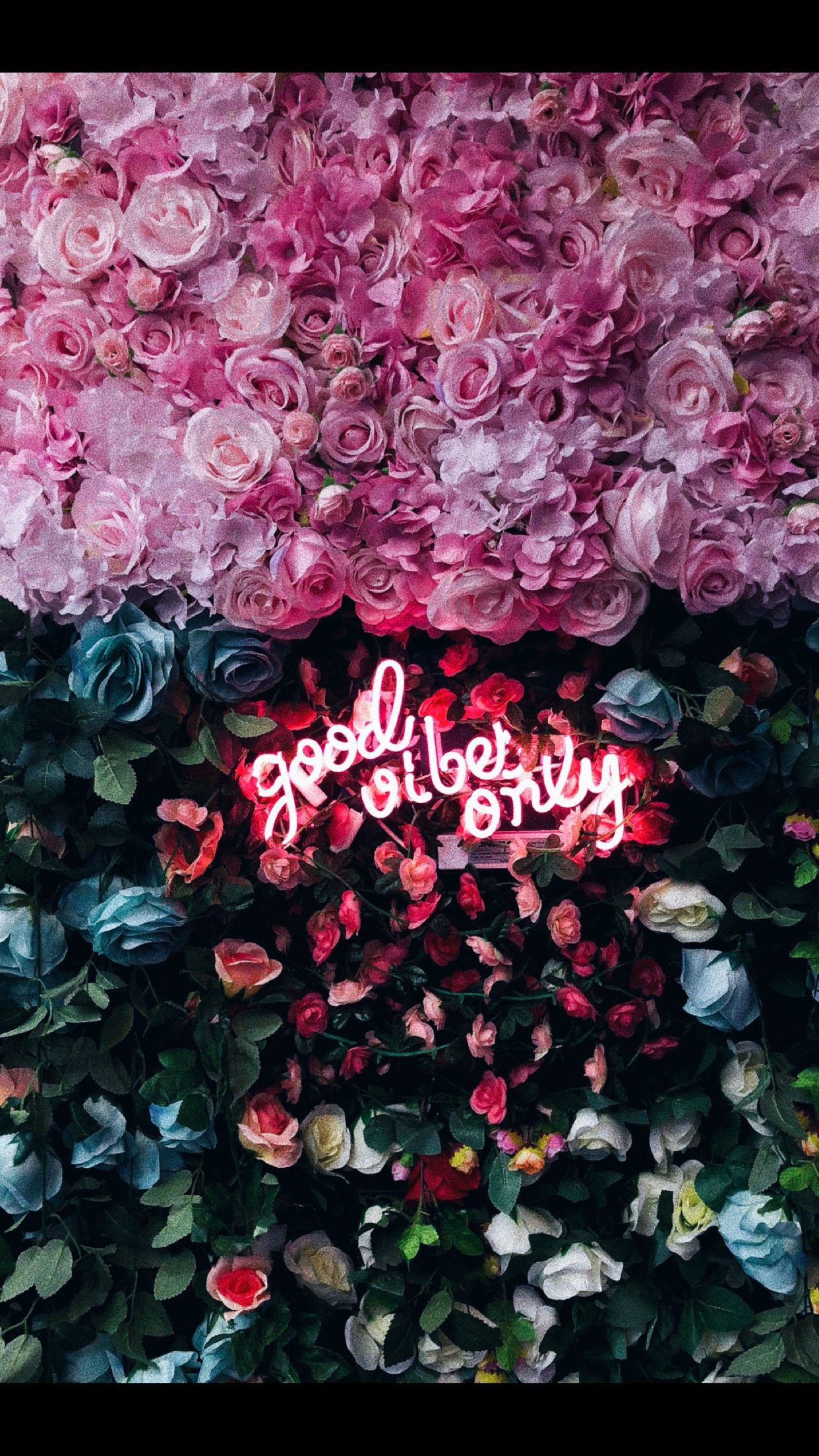 Good vibes neon signs flower wall backdrop neon flowers
