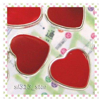 4pcs of Soft Enamel Heart Acrylic Bead Red by sl313star on Etsy, $2.99